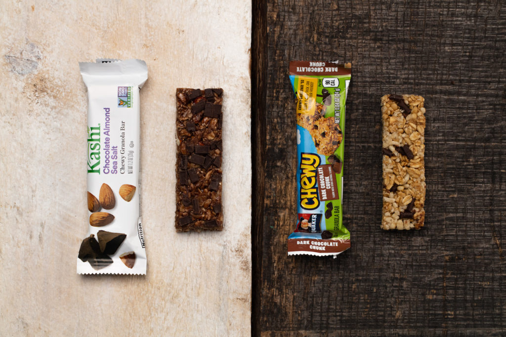 A comparison of Kashi and Chewy bars to show price point and quality of snack bar packaging design.