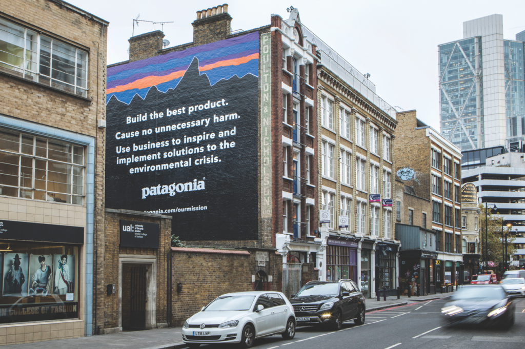 Patagonia uses their company mission statement in all aspects of the business, including advertisements.